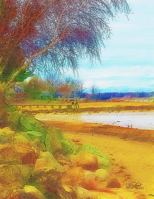 Digital Art - A Rocky Beach by William Sargent