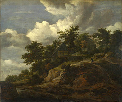 Painting - A Rocky Hill With Three Cottages A Stream At Its Foot by Jacob Isaacksz van Ruisdael