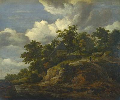Foot Hills Painting - A Rocky Hill With Three Cottages by Jacob van Ruisdael