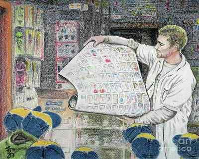 Art Print featuring the drawing A Roll Of Baseball Cards by Yoshiko Mishina
