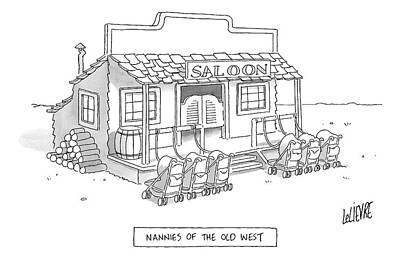 Old West Drawing - A Roll Of Strollers Sits Outside An Old West by Glen Le Lievre