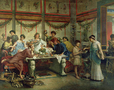 Roberto Painting - A Roman Feast Roberto Bompiani, Italian Roman by Litz Collection