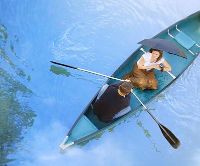 A Romantic Outing In A Canoe Art Print