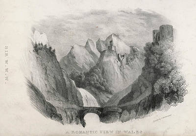 Optical Illusion Drawing - 'a Romantic View In Wales'  (sir Watkin by Mary Evans Picture Library