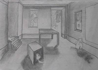 Drawing - A Roomful Of Cats by AJ Brown