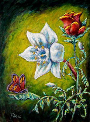 A Rose A Lily And A Butterfly Art Print