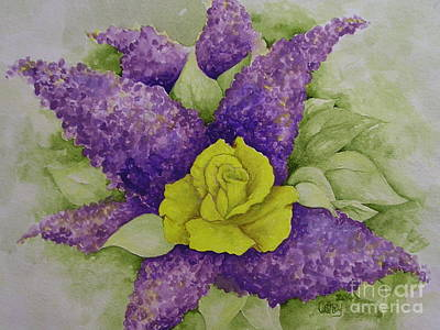 A Rose Among The Lilacs Art Print