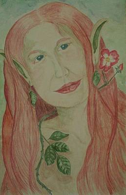 Painting - A Rose Faerie by Carrie Viscome Skinner