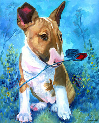 Bull Terrier Art Painting - A Rose For Mom - Bull Terrier by Lyn Cook