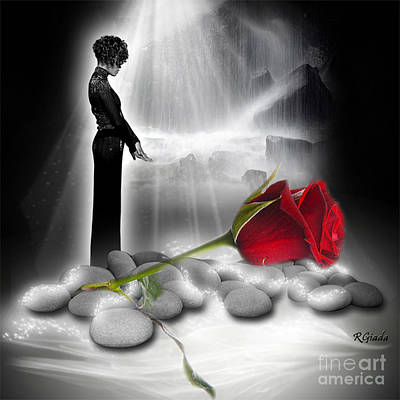 African-american Digital Art - A Rose For Whitney - Fantasy Art By Giada Rossi by Giada Rossi