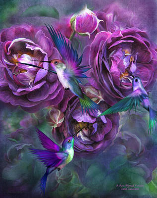 Flowers And Roses Mixed Media - A Rose Named Violette by Carol Cavalaris