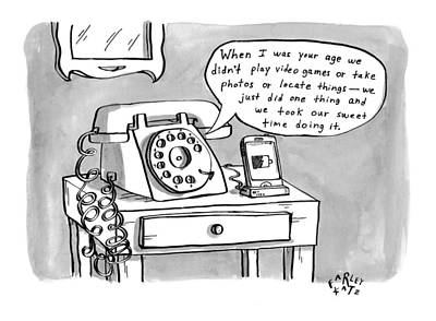 Telephone Drawing - A Rotary Telephone Addresses A Smartphone When by Farley Katz