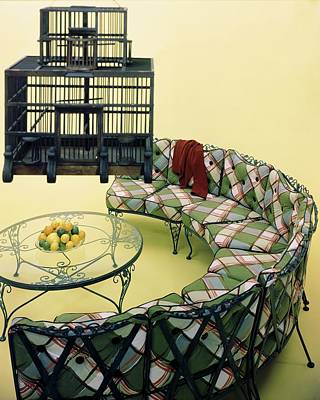 Room Photograph - A Round Couch And A Birdcage by Haanel Cassidy