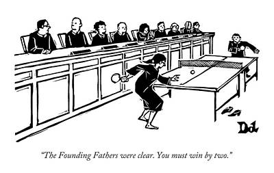 Ping Pong Wall Art - Drawing - A Row Of Judges Sits At A Long Court Desk by Drew Dernavich