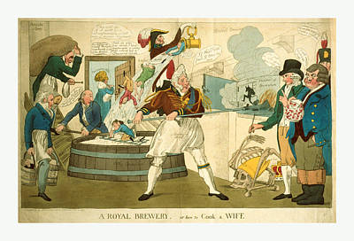 A Royal Brewery, Or How To Cook A Wife, Engraving 1821 Art Print by Litz Collection