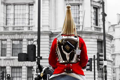 Change Photograph - A Royal Horse Guards Soldier Horse Guards Parade In London England by Michal Bednarek