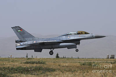 Jordanian Photograph - A Royal Jordanian Air Force F-16b by Riccardo Niccoli