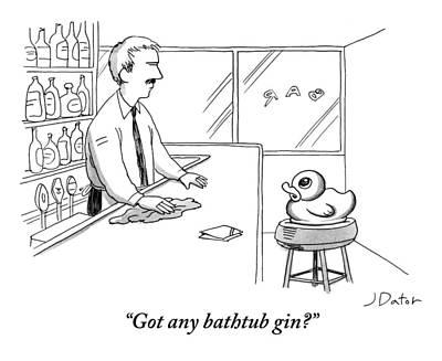Rubber Ducky Wall Art - Drawing - A Rubber Duck At A Bar Addresses The Bartender by Joe Dator