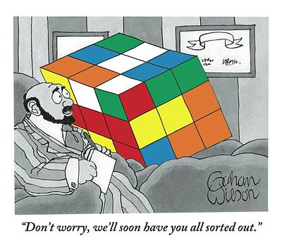 Toys Drawing - A Rubik's Cube Is Seen In A Psychiatrist's Office by Gahan Wilson