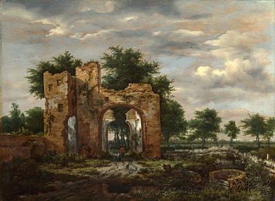Painting - A Ruined Castle Gateway by Jacob Isaacksz van Ruisdael