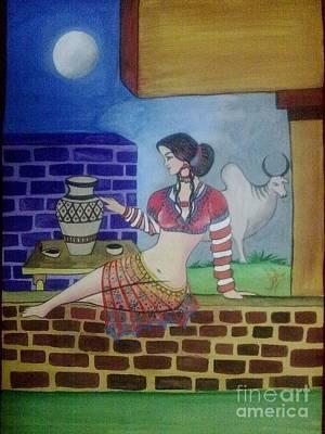 Syeda Ishrat Painting - A Ruined City Girl Of Moen-jo-daro by Syeda Ishrat