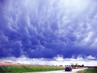 A Rural Nebraska Highway And Magnificent Sky Art Print by Tyler Robbins