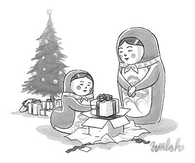 Gift Drawing - A Russian Doll Mother And Daughter Open Christmas by Liam Walsh