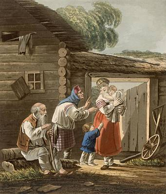 Five Drawing - A Russian Peasant Family, 1823 by English School