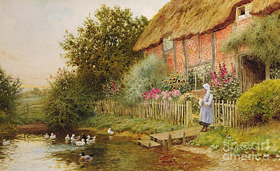 Charming Cottage Painting - A Rustic Retreat by Arthur Claude Strachan
