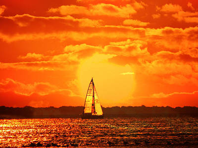 A Sailboat At Sunset Original