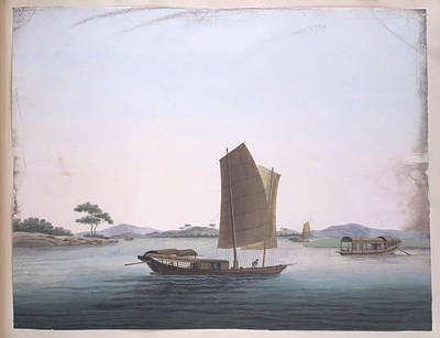 Gouache Photograph - A Sailing Boat by British Library