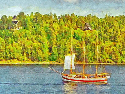 Narrow Boats Digital Art - A Sailing Ship In The Stockholm Archipelago by Digital Photographic Arts