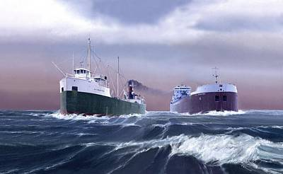 Great Lakes Ship Painting - A Sailors Log by Captain Bud Robinson