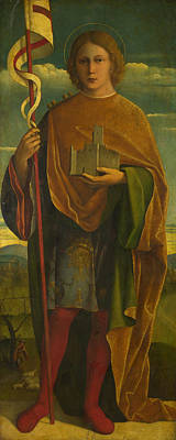 Religious Artist Painting - A Saint With A Fortress And A Banner by Attributed to Girolamo da Santacroce