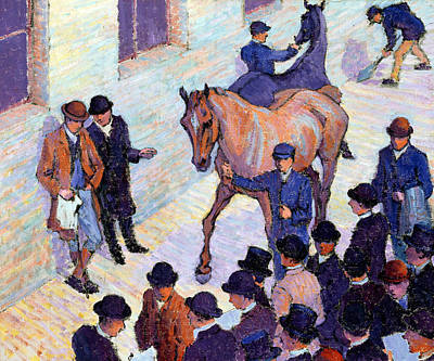 Bowler Painting - A Sale At Tattersalls, 1911 by Robert Polhill Bevan