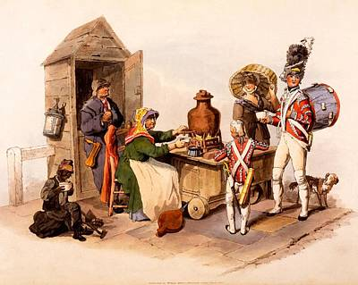 Great Drawing - A Sallop Seller Serving Heated Hot by William Henry Pyne