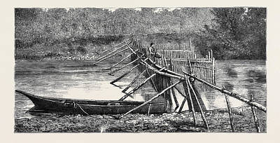 Vancouver Drawing - A Salmon Weir Near The Quamichan Indian Village by Canadian School