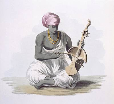 Indian Musical Instrument Painting - A Sarinda, Or Hindostan Type Violin by Franz Balthazar Solvyns