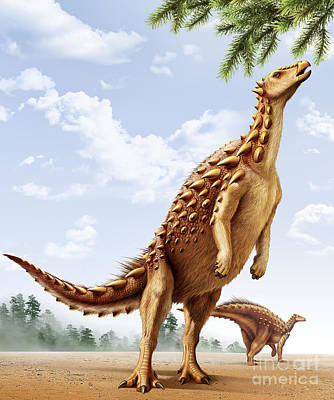 Reaching Up Digital Art - A Scelidosaurus Standing On Its Hind by Mohamad Haghani
