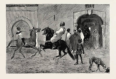 Tangier Drawing - A Scene In Tangier, Morocco by Moroccan School