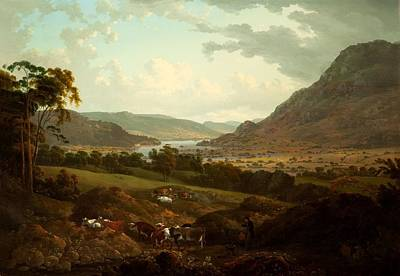 Mountainous Painting - A Scene In The Lake District by Julius Caesar Ibbetson