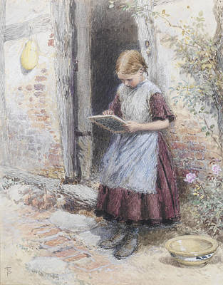 Myles Birket Foster Digital Art - A School Girl by Myles Birket Foster