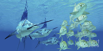 A School Of Ayu Fish Try To Escape Art Print by Corey Ford