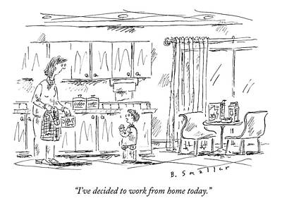 Working Drawing - A Schoolboy Speaks To His Mother In The Kitchen by Barbara Smaller