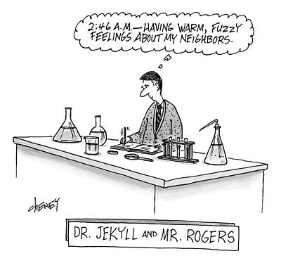 Feelings Drawing - A Scientist Who Looks Like Mr. Rogers Is Writing by Tom Cheney