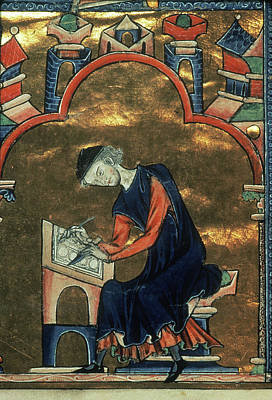 Scribe Painting - A Scribe, C1235 by Granger