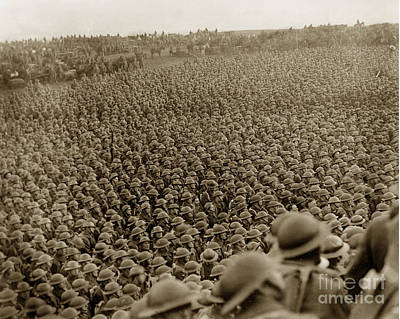 Photograph - A Sea Of Helmets World War One 1918 by California Views Mr Pat Hathaway Archives