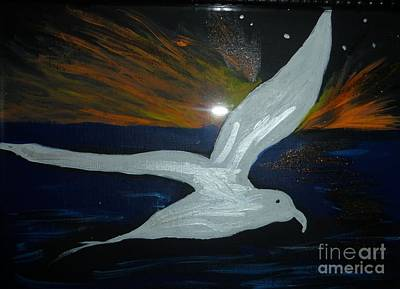 A Seagull At Night Art Print by Marie Bulger