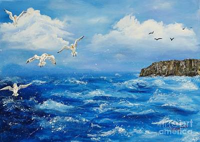 Painting - A Seagull's View George's Head Kilkee Co. Clare by Corina Hogan