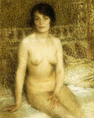 Erotica Painting - A Seated Nude by Ernest-Joseph Laurent